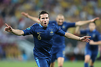FOOTBALL - UEFA EUROPEAN CHAMPIONSHIP 2012 - GROUP D - UKRAINE v FRANCE - DONETSK (UKRAINE) - 15/06/2012 - PHOTO PHILIPPE LAURENSON / DPPI - JOY YOHAN CABAYE (FRA) AFTER HIS GOAL
