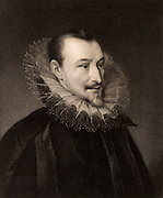 Edmund Spenser (1552?-1599) English Elizabethan poet.  Engraving from 'The Gallery of Portraits' Vol. IV, by Charles Knight (London, 1835).