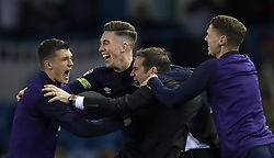 Derby County manager Frank Lampard celebrates after the match with Harry Wilson (centre) and George Evans (right)