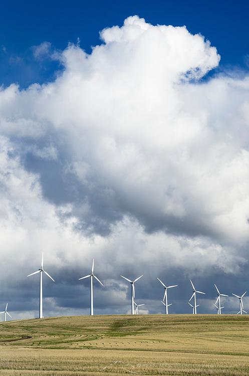Dramatic clouds over wind turbines on the Columbia Plateau Oregon