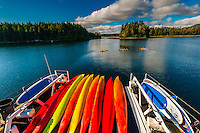 Sea kayaks on the stern of the Wilderness Explorer, Un-Cruise Adventures, Magoun Islands State Park, Krestof Sound, Inside Passage, southeast Alaska USA.