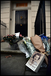 Flowers to mark the death of Baroness Thatcher, outside her house in Chester Square, London, UK,Monday 8 April, 2013. Photo By Andrew Parsons / i-lmages.
