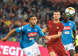 October 14, 2017 - Rome, Italy - Faouzi Ghoulam, Edin Dzeko during the Italian Serie A football match between A.S. Roma and S.S.C. Napoli at the Olympic Stadium in Rome, on october 14, 2017. (Credit Image: © Silvia Lore/NurPhoto via ZUMA Press)