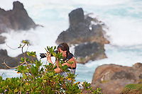 Photographer at Hookipa Beach Park overlook. On the North Shore of Maui. Image taken with a Nikon D3x and 70-300 mm VR lens (ISO 100, 300 mm, f/8, 1/250 sec)