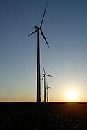 The sun sets on wind generators in a soybean field near Worthington, Minnesota.