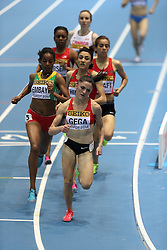 08.03.2014, Ergo Arena, Sopot, POL, IAAF, Leichtathletik Indoor WM, Sopot 2014, im Bild Abeba Aregawi (Sweden) wins 1500 Metres final Luiza Gega (Albania) (R) and Axumawit Embaye (Ethiopia) (L) competite during the run // Abeba Aregawi (Sweden) wins 1500 Metres final Luiza Gega (Albania) (R) and Axumawit Embaye (Ethiopia) (L) competite during the run during day two of IAAF World Indoor Championships Sopot 2014 at the Ergo Arena in Sopot, Poland on 2014/03/08. EXPA Pictures © 2014, PhotoCredit: EXPA/ Newspix/ Michal Fludra<br /> <br /> *****ATTENTION - for AUT, SLO, CRO, SRB, BIH, MAZ, TUR, SUI, SWE only*****