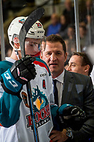 KELOWNA, CANADA - JANUARY 4:  Nolan Foote #29 of the Kelowna Rockets stands on the bench with head coach (and father) Adam Foote against the Prince George Cougars on January 4, 2019 at Prospera Place in Kelowna, British Columbia, Canada.  (Photo by Marissa Baecker/Shoot the Breeze)