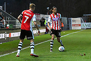 Randell Williams (11) of Exeter City during the EFL Sky Bet League 2 match between Exeter City and Cheltenham Town at St James' Park, Exeter, England on 16 November 2019.