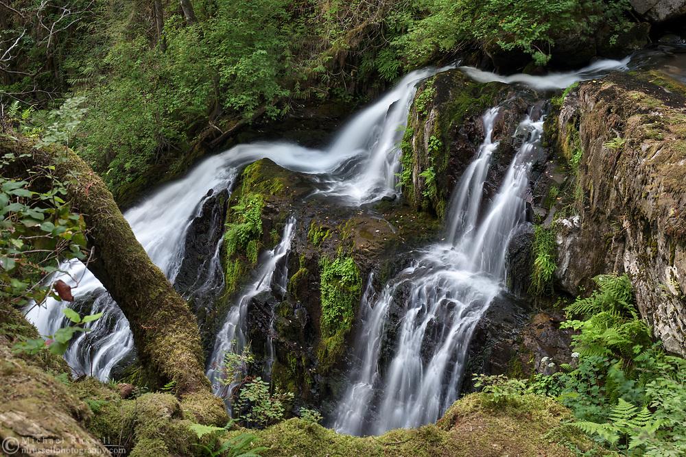 Side view of Steelhead Falls on Steelhead Creek in the Hayward Lake Recreational Area in Mission, British Columbia, Canada