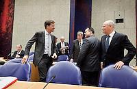 Nederland. Den Haag, 26 oktober 2010.<br /> De Tweede Kamer debatteert over de regeringsverklaring van het kabinet Rutte.<br /> Hillen, Rutte, Donner, Leers, Opstelten, de Jager en Rosenthal in vak K<br /> Kabinet Rutte, regeringsverklaring, tweede kamer, politiek, democratie. regeerakkoord, gedoogsteun, minderheidskabinet, eerste kabinet Rutte, Rutte1, Rutte I, debat, parlement<br /> Foto Martijn Beekman