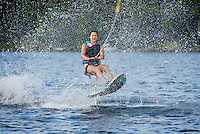 Claudia Cantin takes a spin on an Air Chair on Lake Winnisquam.  (Karen Bobotas/for the Laconia Daily Sun)