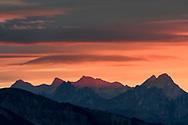 Sunset over the foothills of the Bernese Alps, Niederhorn, Interlaken, Berne, Switzerland