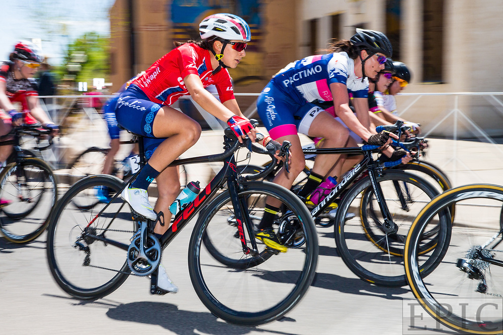 SILVERY CITY, NM - APRIL 21: Marcela Elizabeth Prieto Castaneda (SWAPIT AGOLICO) takes a corner during  stage 4 of the Tour of The Gila on April 21, 2018 in Silver City, New Mexico. (Photo by Jonathan Devich/Epicimages.us)