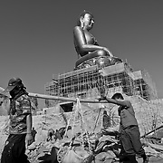 Workers in the cosnstruction of the Giant Buddha Dordenma Statue in Kuensel Phodrang, Thimphu, Bhutan, Asia