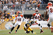 PITTSBURGH, PA - DECEMBER 4: Adam Jones #24 and Reggie Nelson #20 of the Cincinnati Bengals break up a pass against Mike Wallace #17 of the Pittsburgh Steelers at Heinz Field on December 4, 2011 in Pittsburgh, Pennsylvania. The Steelers defeated the Bengals 35-7. (Photo by Joe Robbins) *** Local Caption *** Adam Jones;Reggie Nelson;Mike Wallace