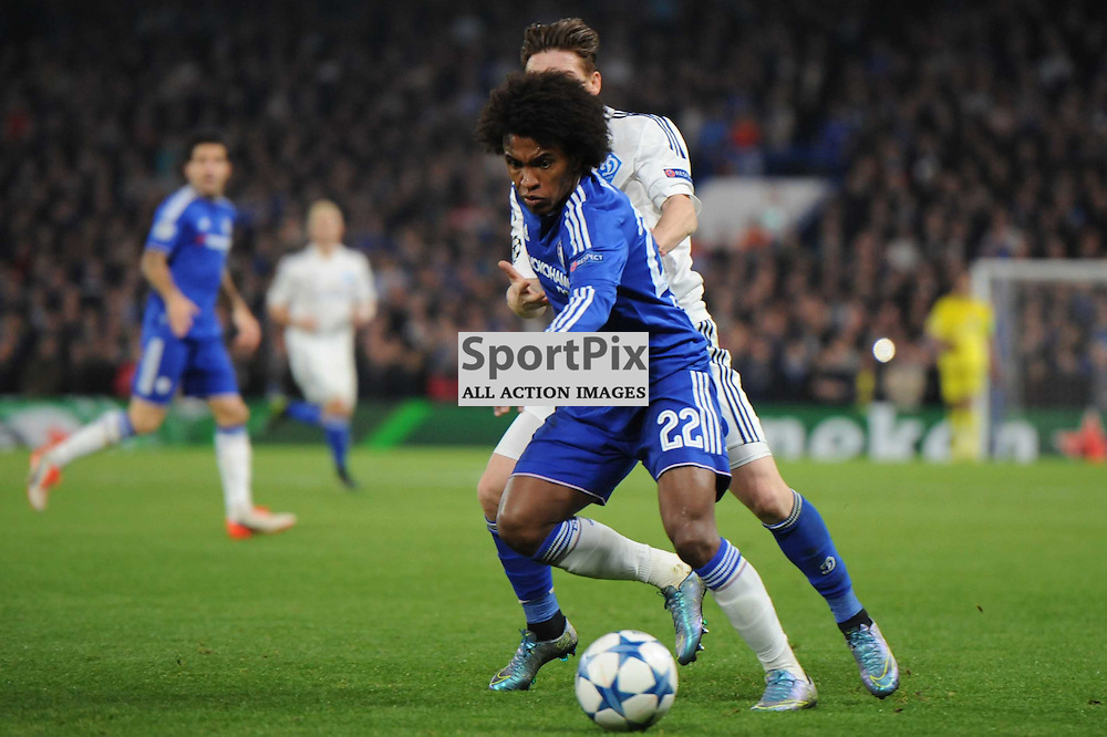 Chelseas Willian and Dynamo Kievs Antunes in action during the Chelsea v Dynamo Kiev champions league match in the group stage on the 4th November 2015