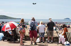 © Licensed to London News Pictures. 22/06/2019. Weston-super-Mare, North Somerset, UK. Chinook Display Team at Weston Air Festival taking place over the weekend of 22 and 23 June in Weston Bay with crowds watching from the beach and seafront. Photo credit: Simon Chapman/LNP.