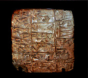 Babylonian cuneiform tablets 75-330 BC depicting part of the Babylonian epic of creation from Iraq