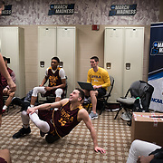 Loyola University Chicago Men's Basketball players joke around in the locker room before practice at the American Airlines Center a day before they take on the University of Miami in the first round of the NCAA Tournament in Dallas, TX. This is the basketball team's first appearance in the tournament since 1985. (Photo: Lukas Keapproth)