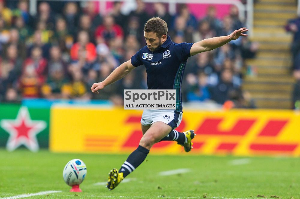 Greig Laidlaw kicks during the Rugby World Cup match between Scotland and South Africa (c) ROSS EAGLESHAM | Sportpix.co.uk