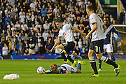 Chris Baird fouls Andrew Shinnie during the Sky Bet Championship match between Birmingham City and Derby County at St Andrews, Birmingham, England on 21 August 2015. Photo by Alan Franklin.
