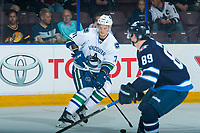 PENTICTON, CANADA - SEPTEMBER 8: Mackenze Stewart #71 of Vancouver Canucks skates with the puck against the Winnipeg Jets on September 8, 2017 at the South Okanagan Event Centre in Penticton, British Columbia, Canada.  (Photo by Marissa Baecker/Shoot the Breeze)  *** Local Caption ***