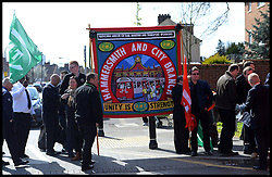 Supporters line the streets for the funeral of RMT Bob Crow near his home in Woodford Green, London, United Kingdom. Monday, 24th March 2014. Picture by Andrew Parsons / i-Images