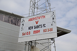 WREXHAM, WALES - Saturday, May 3, 2014: A sign advertising the Welsh Cup Final between Aberystwyth Town and The New Saints before the Welsh Cup Final at the Racecourse Ground. (Pic by David Rawcliffe/Propaganda)