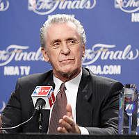 19 June 2012: Team President of the Miami Heat Pat Riley is seen during a press conference prior to the Miami Heat 104-98 victory over the Oklahoma City Thunder, in Game 4 of the 2012 NBA Finals, at the AmericanAirlinesArena, Miami, Florida, USA.