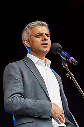 © Licensed to London News Pictures. 09/07/2016. London, UK. London's first Muslim Mayor of London,  Sadiq Khan, addresses large crowds on stage at the EID festival in Trafalgar Square. Photo credit : Stephen Chung/LNP