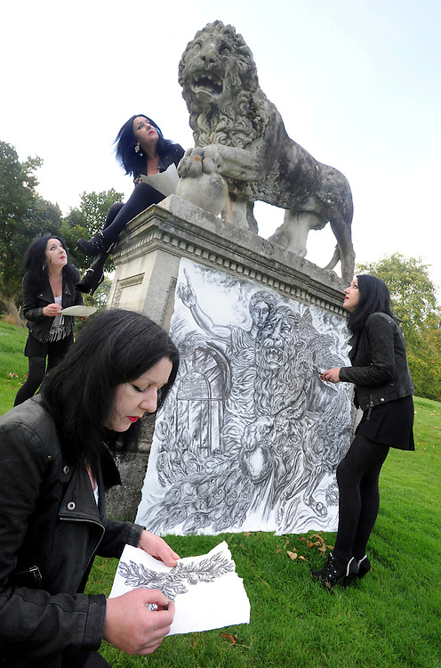 Derby artist Barbara Colbert and one of her charcoal drawings pictured at Kedleston Hall, Derbyshire.