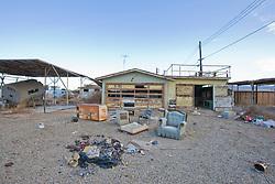 Front yard of abandoned house, Bombay Beach, Salton Sea, California