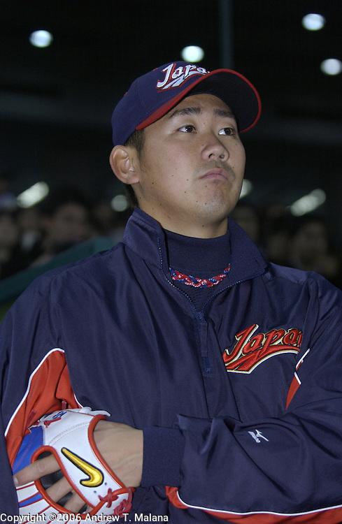 Team Japan starter Daisuke Matsuzaka looks a reporter before the start of the game against Team Korea in the World Baseball Classic at Tokyo Dome, Tokyo, Japan.