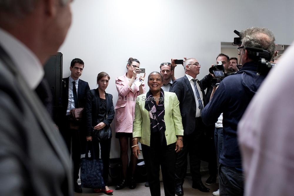 25 septembre 2015. Christiane Taubira, Garde des Sceaux et ministre de la Justice, se rend aujourd'hui a  Montpellier pour la inauguration de l'Ecole de formation des avocats du centre sud.