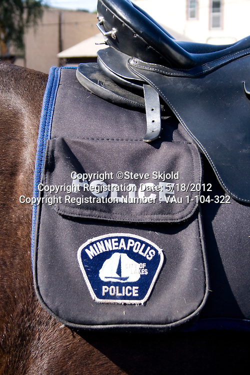 Police horse with saddle bag waiting to start parade. Mexican Independence Day Minneapolis Minnesota MN USA