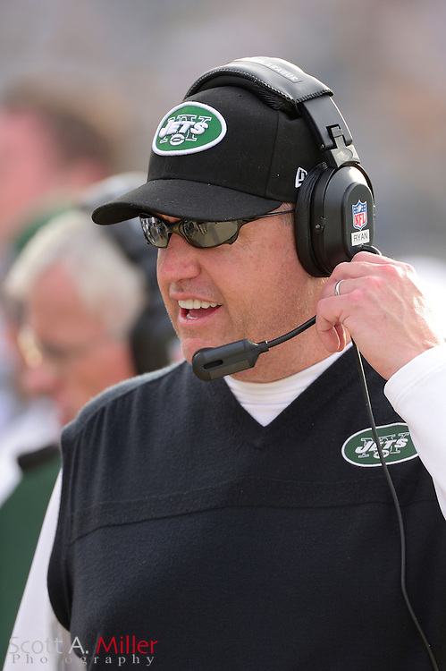 New York Jets head coach Rex Ryan during an NFL game against the Jacksonville Jaguars at EverBank Field on Dec 9, 2012 in Jacksonville, Florida. The Jets won 17-10...©2012 Scott A. Miller..
