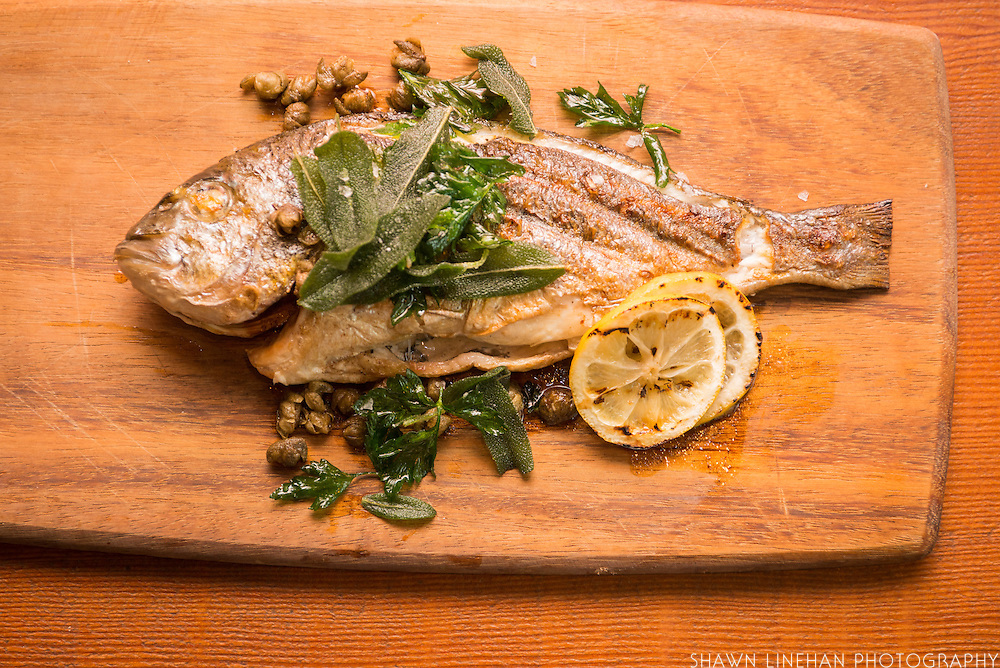 Staple & Fancy offers a seasonal grilled fish on each menu.