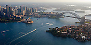 An aerial view of the Sydney Harbor.