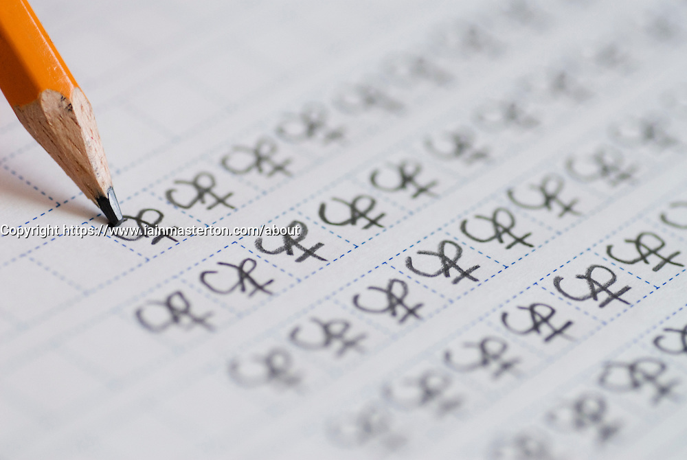 Foreign student learning to write Japanese characters
