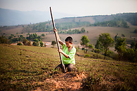 A young child digs for something on a hillside near the Plain of Jars in Phonsavan, Laos.