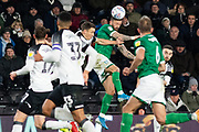 Steven Fletcher (9) heads the ball during the EFL Sky Bet Championship match between Derby County and Sheffield Wednesday at the Pride Park, Derby, England on 11 December 2019.