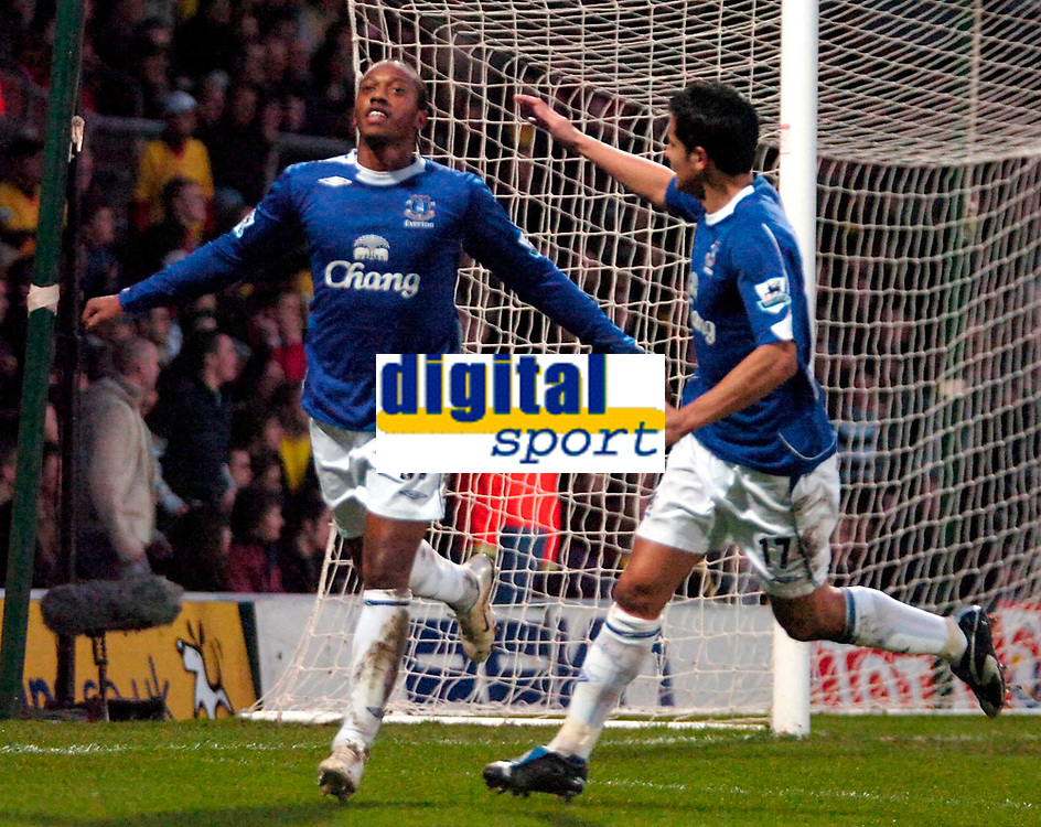 Photo: Ed Godden/Sportsbeat Images.<br /> Watford v Everton. The Barclays Premiership. 24/02/2007.<br /> Everton's Manuel Fernandes (L), celebrates scoring the first goal with team mate Tim Cahill.