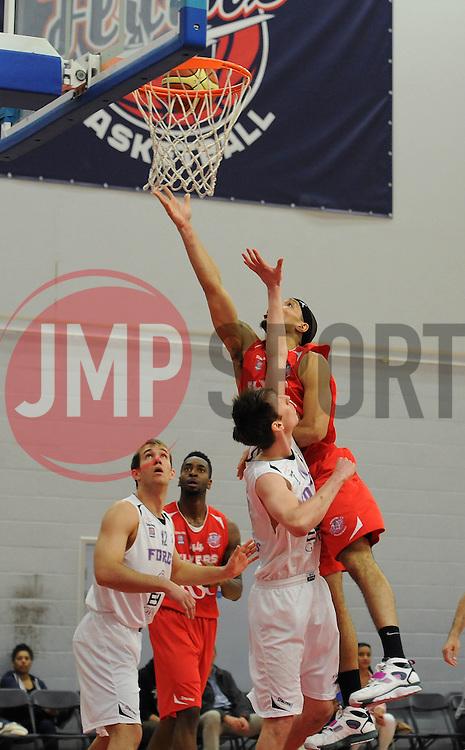 Bristol Flyers' Greg Streete shoots - Photo mandatory by-line: Dougie Allward/JMP - Mobile: 07966 386802 - 18/04/2015 - SPORT - Basketball - Bristol - SGS Wise Campus - Bristol Flyers v Leeds Force - British Basketball League
