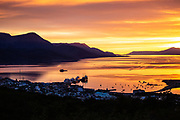 Sunset over the Bay of Ushuaia the southernmost city in the word and the capital of Tierra del Fuego, Antartida e Islas del Atlantico Sur Province, Argentina.
