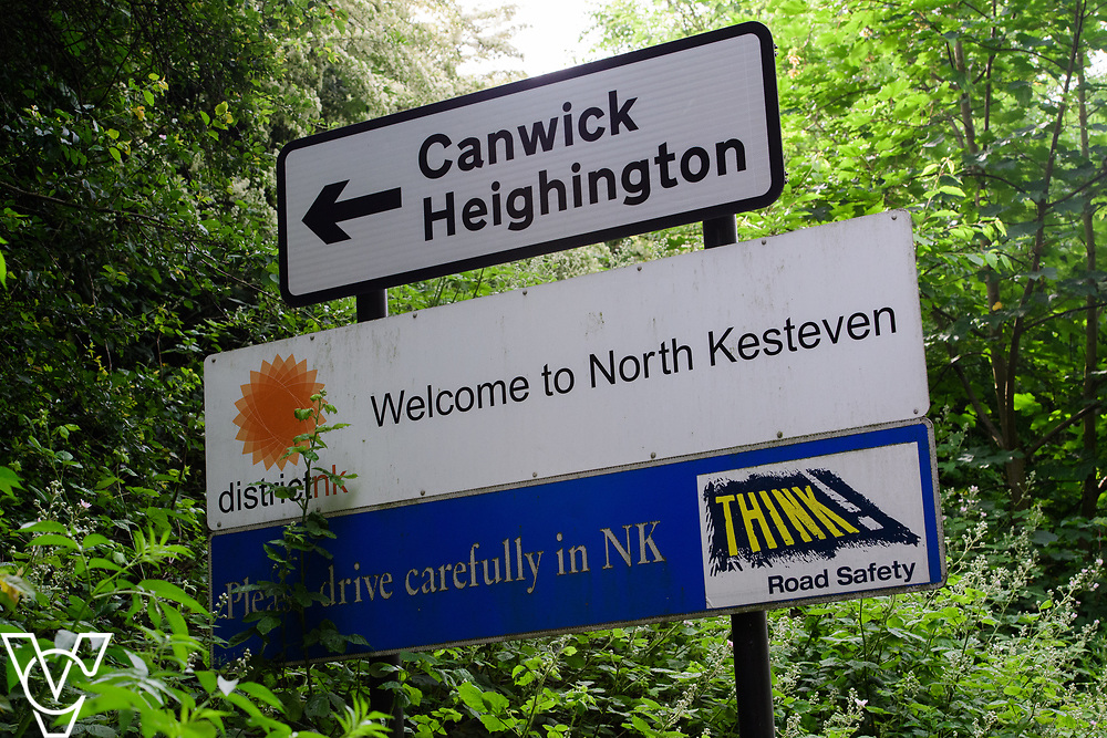 North Kesteven District Council (NKDC) - stock photography: Welcome to North Kesteven Sign, also showing signs for Canwick and Heighington<br /> <br /> Picture: Chris Vaughan Photography<br /> Date: June 2, 2017