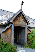 Norway, Lofoten. The Lofotr Viking Museum is a historical museum based on a reconstruction and excavation of a Viking chieftain's village. A reconstruction of the Chieftain House.