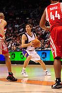 Jan. 6 2010; Phoenix, AZ, USA; Phoenix Suns guard Steve Nash (13) makes a pass against the Houston Rockets at the US Airways Center. Phoenix Suns defeated the Houston Rockets 118-110.  Mandatory Credit: Jennifer Stewart-US PRESSWIRE
