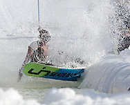 Warwick, New York - A snowboarder falls into the water during the annual Spring Rally at Mount Peter Ski and Ride on March 21, 2010.