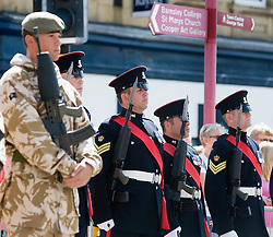 Colour Sgt Leon Egbury (Third from right) a member of the Colour Party at  Freedom Parade 3rd Battalion The Yorkshire Regiment Barnsley South Yorkshire  22 June 2010 .Images © Paul David Drabble.