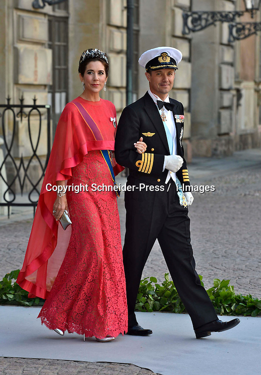 Crown Princess Mary and Crown Prince Frederik attends the evening banquet after the wedding of Princess Madeleine of Sweden and Christopher O'Neill hosted by King Carl Gustaf and Queen Silvia at Drottningholm Palace in Stockholm, Sweden, June 8, 2013 . Photo by Schneider-Press / i-Images. .UK & USA ONLY